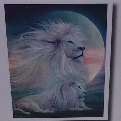 Diamond painting hvid løve i månens skær