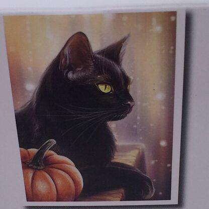 Diamond painting sort kat med græskar