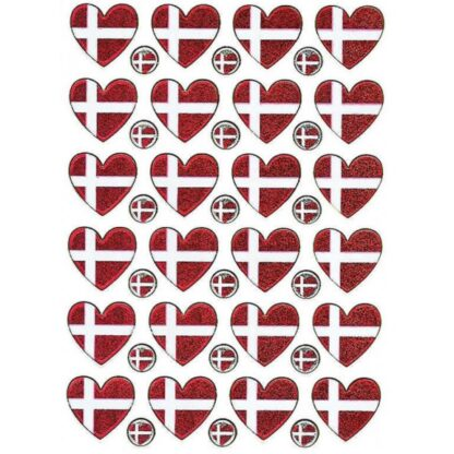 Danske flag, hjerter, stickers, klistermærke