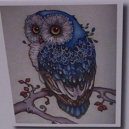 Diamond painting blå ugle på gren