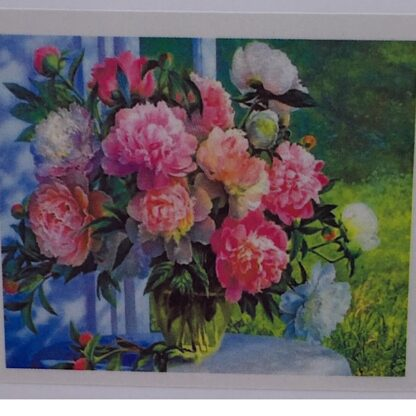 Diamond painting lyserød buket i blå vase