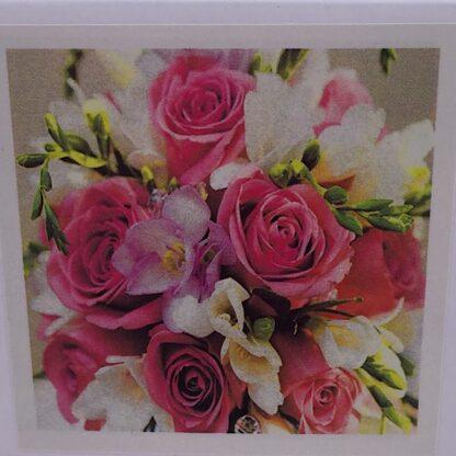 Diamond painting pink buket roser