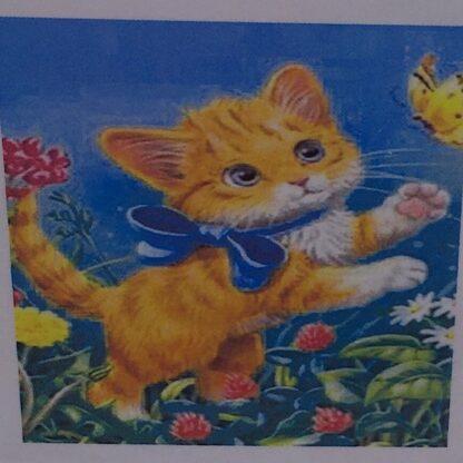Diamond painting rød kattekilling