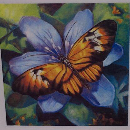 Diamond painting sommerfugl i blå blomst