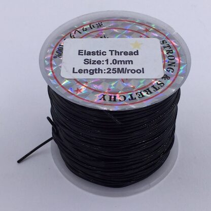 Kraftig smykke elastik sort 1 mm. tyk og 25 meter lang