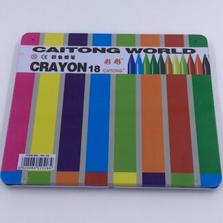 18 stk. farvekridt med viskelæder og blyantspidser