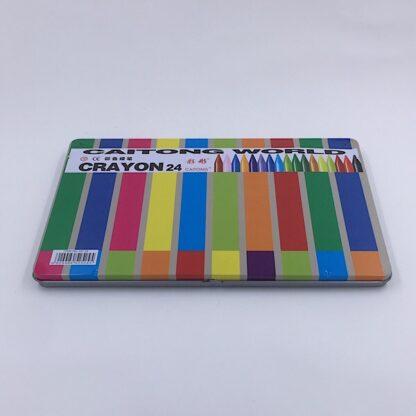 24 farvekridt i metalæske med viskelæder og blyantspidser