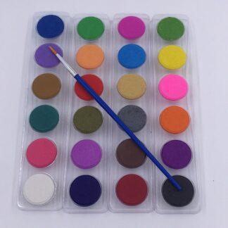 24 vandfarver med pensel akvarel farver til børn