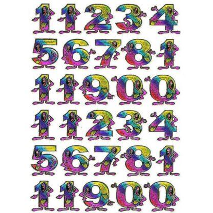 37 stickers multifarvede tal sjov
