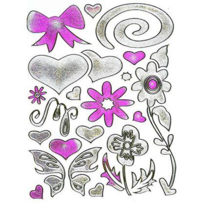 41 stickers sølv hjerte med blomster og sløjfer sjov