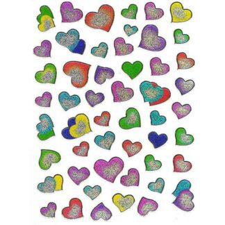54 stickers sølvfarvede hjerter sjov