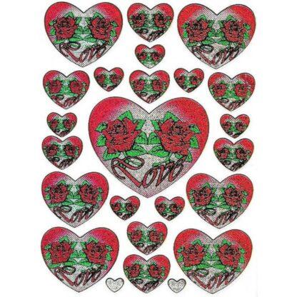 55 stickers hjerte rose love sjov