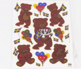 74 stickers bamser fest Sverige sjov
