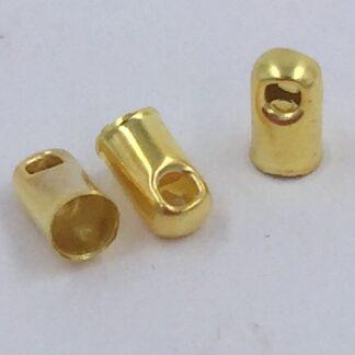 Endestykker af messing guld 4x6,6mm