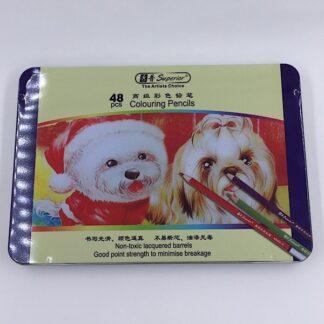 Farveblyanter i metalæske 48 stk. til at tegne og farvelægge med