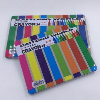 Farvekridt i metalæske med viskelæder og blyantspidser