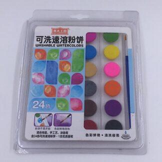 Vandfarvelade akvarel farve med pensel 24 farver