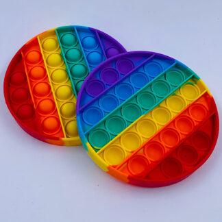 Pop it Fidget toy rund regnbuefarvet