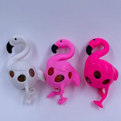 Flamingo klemmebold med vandperler i maven Stressbold