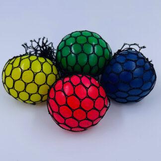 Klemmebold med slim og sort net stressbold