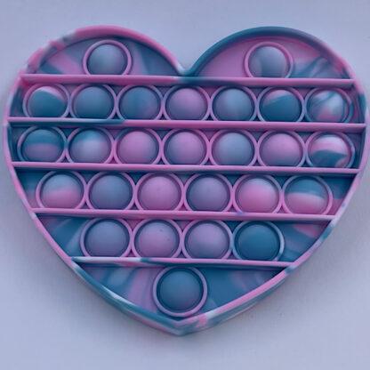 Pop it marmoreret Pop Fidget hjerte lyserød lyseblå hvid Fidget Toy