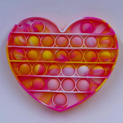 Pop it marmoreret Pop Fidget hjerte pink gul hvid Fidget Toy