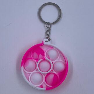 Pop it nøglering rund pink hvid Fidget Toy