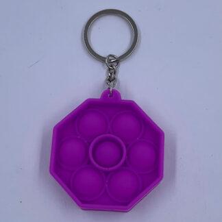 Pop it Oktagon Lilla nøglering Fidget Toy