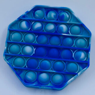 Pop it oktagon Pop Fidget turkis blå hvid Fidget Toy marmoreret Bubble