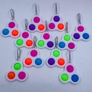 Simple Dimple nøglering med tre pop Fidget Toy