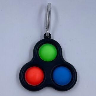 Simple Dimple sort med tre pop grøn orange blå Fidget Toy