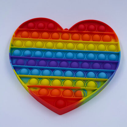 Kæmpe Pop it Regnbuefarvet Pop Fidget Hjerte Fidget Toy
