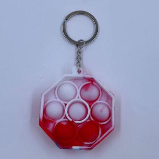 Pop it nøglering rød hvid Pop Fidget Fidget Toy