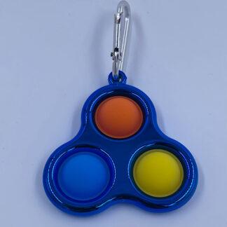 Simple Dimple med tre Pop Metallic style blå Fidget Toy