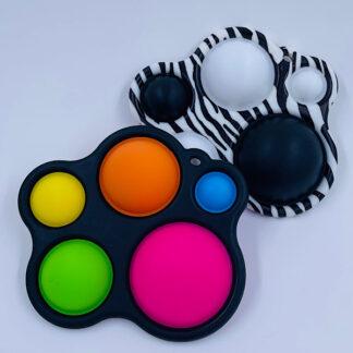 Simple Dimple Sort eller Zebra stribet med fem pop Fidget Toy