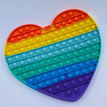 Kæmpe Pop it hjerte regnbuefarvet Legetøj