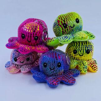 Octopus Reversible med glimmer glad nøglering Små gaver