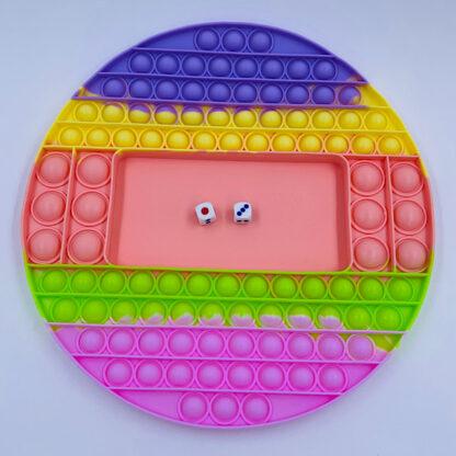 Pop it bræt spil med terninger pastelfarvet rund Fidget Toy