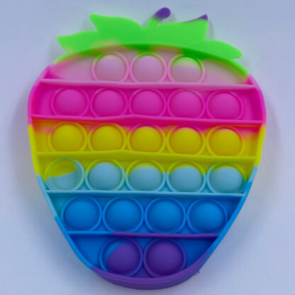 Pop it jordbær regnbuefarvet pasteller Fidget Toy