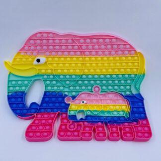 Pop it mega Elefant med unge pastelfarvet 45 cm Fidget Toy
