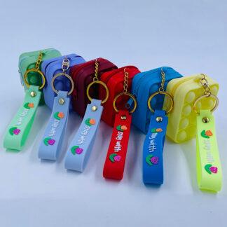 Pop it nøglering med Bubble pung ensfarvet med rem Fidget Toy
