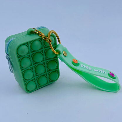 Pop it nøglering med Bubble pung grøn Fidget Toy