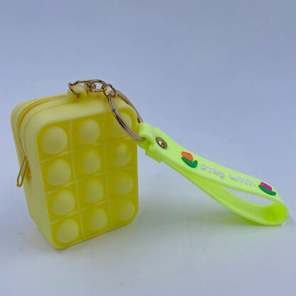 Pop it nøglering med Bubble pung lysegul Fidget Toy