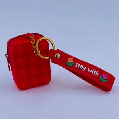 Pop it nøglering med Bubble pung rød Fidget Toy
