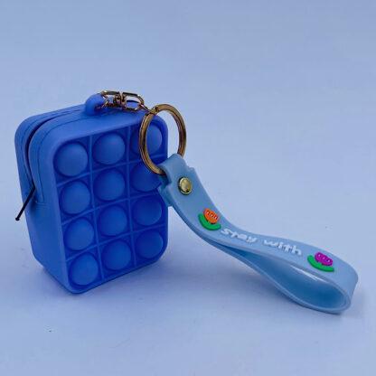Pop it nøglering med Bubble pung turkisblå Fidget Toy