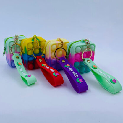 Pop it nøglering med pung Bubble regnbuefarvet Fidget Toy