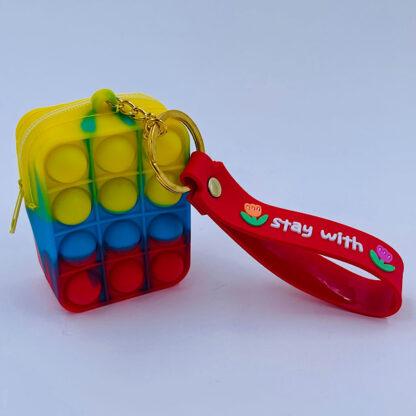 Pop it nøglering med pung gul blå rød Bubble Fidget Toy