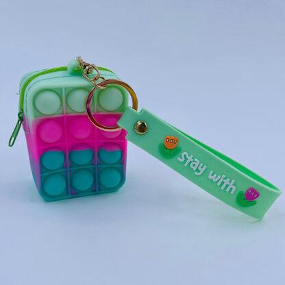 Pop it nøglering med pung lysegrøn pink grøn Bubble regnbuefarvet Fidget Toy