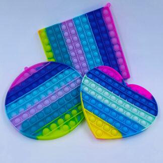 Pop it stor pastelfarvet regnbue Fidget Toy