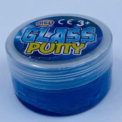 glass putty slime med flotte farver og glitter blå